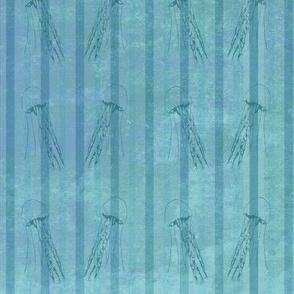 Blue stripped jellyfish fabric
