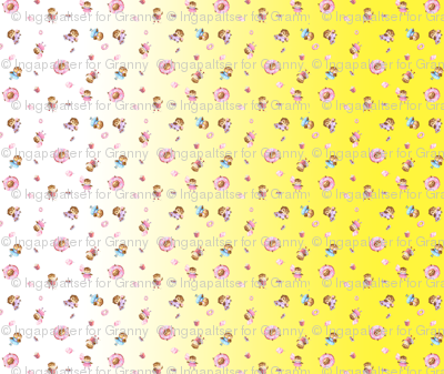 yellow gradient cute owls with sweets feel a yard quilt