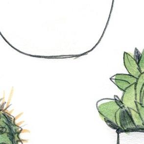 Watercolour Cacti  & Succulent - Large