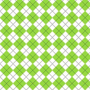 Leaf Green White Argyle