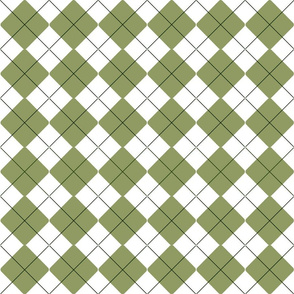 Olive Green and White Pinstripe Argyle