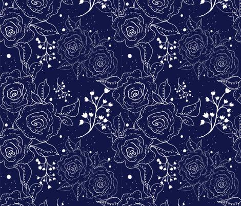 Blue Rose fabric by rosebudstudio on Spoonflower - custom fabric