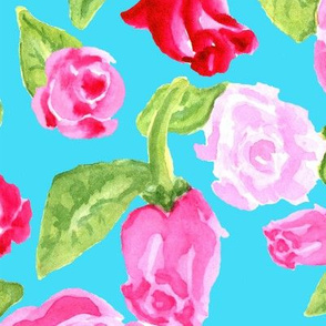 Roses Large on Turquoise