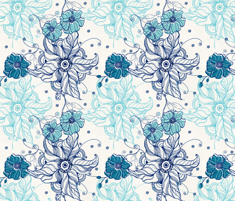 Lilly Teal fabric by rosebudstudio on Spoonflower - custom fabric