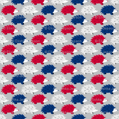 Hedgehogs on Parade (Red, White and Blue on SIlver)