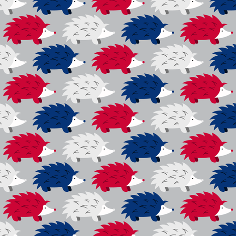 Hedgehogs on Parade (Red, White and Blue on SIlver) fabric by robyriker on Spoonflower - custom fabric