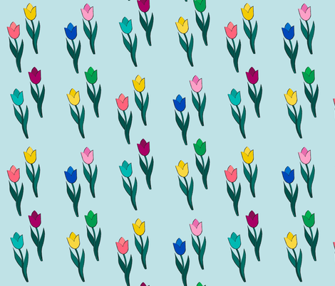Tulips Blue Background fabric by uniquely_fabric on Spoonflower - custom fabric
