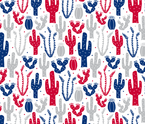 Arizona Backyard (Red, White and Blue) fabric by robyriker on Spoonflower - custom fabric