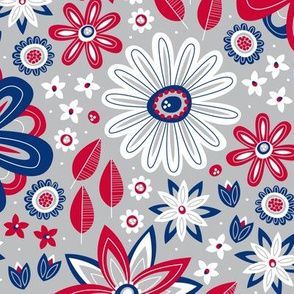 Bohemian Fields (Red, White and Blue on Silver)