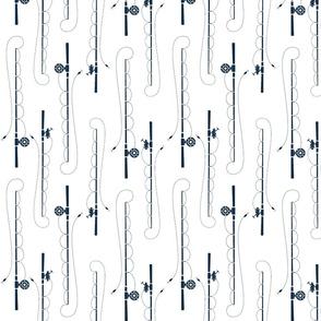 Fishing poles //mandy navy on white