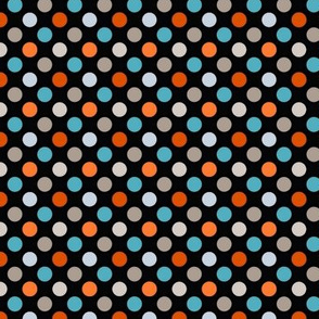 Orange, Blue, & Gray Polka Dots on Black