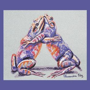 Hugging Frogs Tea Towel