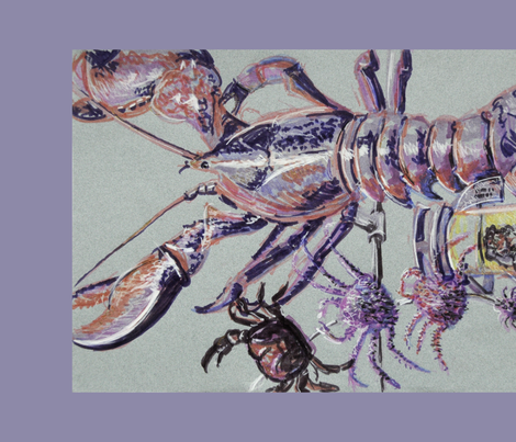 Lobster Tea Towel fabric by blueskitty on Spoonflower - custom fabric