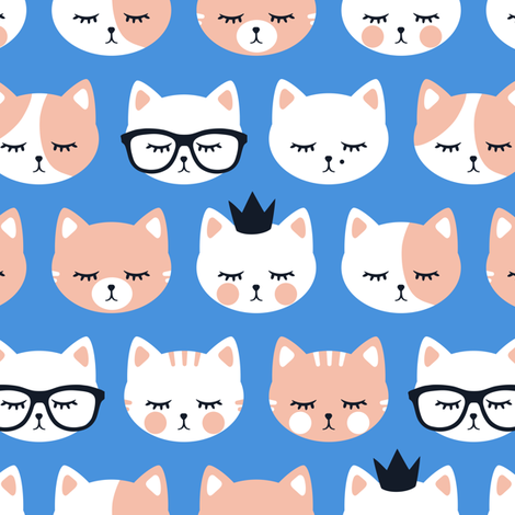 cat faces on blue fabric by littlearrowdesign on Spoonflower - custom fabric