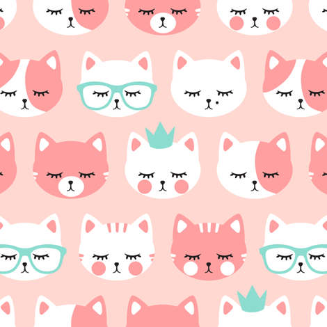 cat faces on pink fabric by littlearrowdesign on Spoonflower - custom fabric