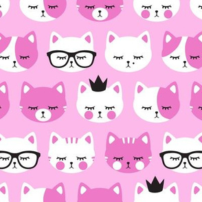 cat faces - pink on pink