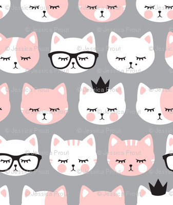 cat faces - light pink on grey