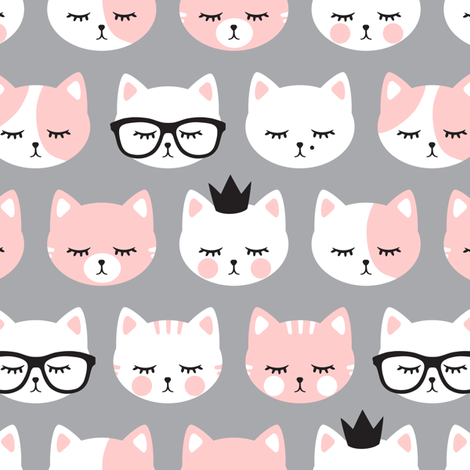 cat faces - light pink on grey fabric by littlearrowdesign on Spoonflower - custom fabric