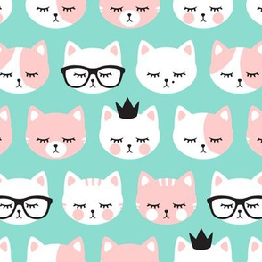 cat faces - pink on aqua