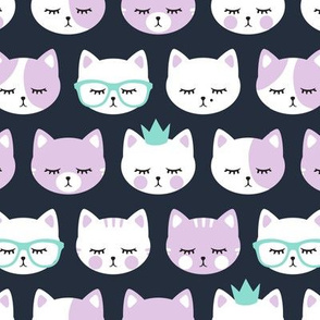 cat faces - purple on dark blue
