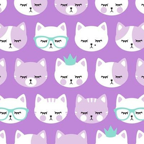 cat faces - purple on purple
