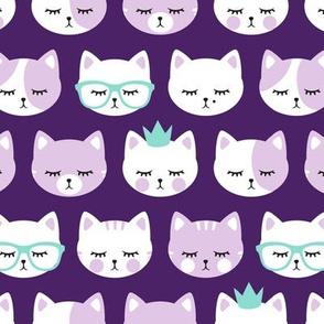 cat faces - purple on dark purple