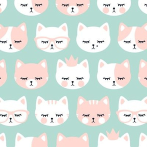 cat faces - pink and dark mint