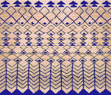 Marrakesh Peach and Blue fabric by vagabond_folk_art on Spoonflower - custom fabric