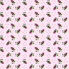 Tiny Rosebuds on Pink