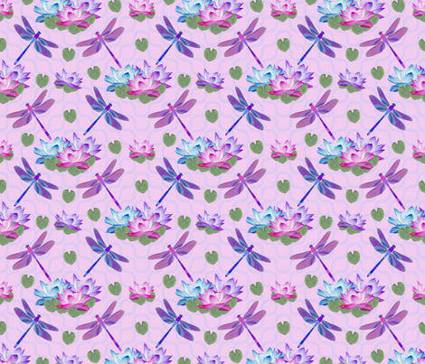Dragonfly Lotus Pond Final fabric by karwilbedesigns on Spoonflower - custom fabric