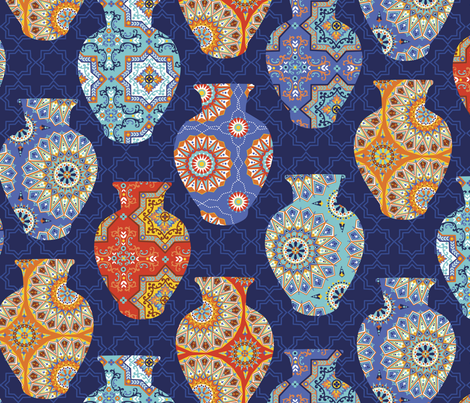 Moroccan Vases fabric by emma_heeson_design on Spoonflower - custom fabric