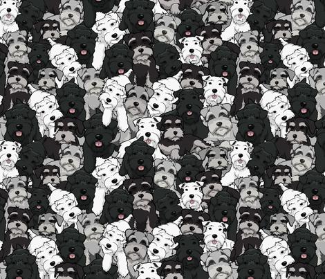 Cartoon Schnauzer Collage Large fabric by olly's_corner on Spoonflower - custom fabric