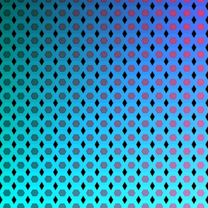 Purple, Magenta, and Blue Gradient Hexagon Grid