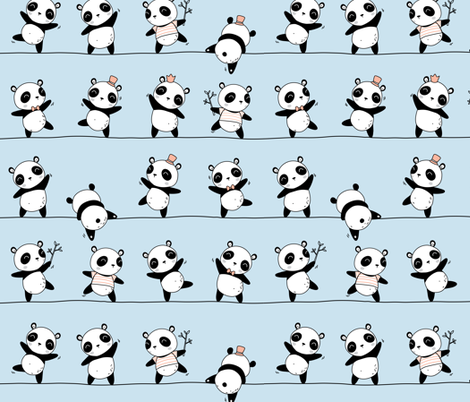 Pandaline - baby blue fabric by ewa_brzozowska on Spoonflower - custom fabric