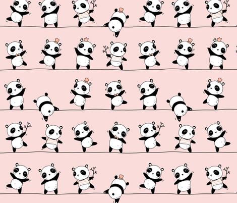 Pandaline - pink - small fabric by ewa_brzozowska on Spoonflower - custom fabric