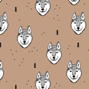 Husky love cool snow puppy pattern for dog lovers winter geometric beige gender neutral