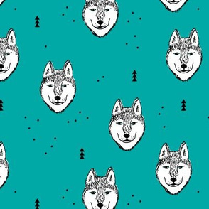 Husky love cool snow puppy pattern for dog lovers winter geometric blue teal