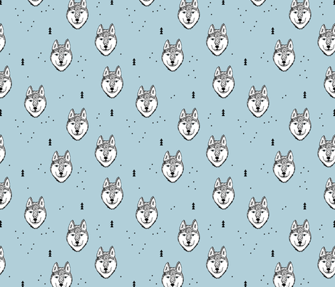 Husky love cool snow puppy pattern for dog lovers winter geometric wolf soft ice blue baby fabric by littlesmilemakers on Spoonflower - custom fabric
