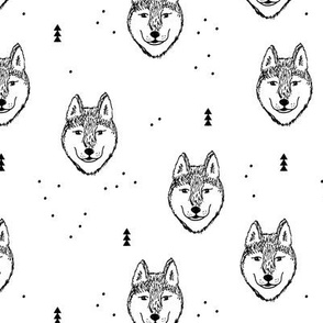 Husky love cool snow wolf puppy pattern for dog lovers winter geometric monochrome gender neutral
