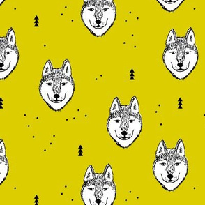 Husky love cool snow puppy pattern for dog lovers summer geometric gender neutral yellow