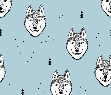 Husky love cool snow puppy pattern for dog lovers winter geometric soft ice blue baby jumbo fabric by littlesmilemakers on Spoonflower - custom fabric