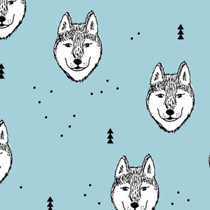 Husky love cool snow puppy pattern for dog lovers winter geometric soft ice blue baby jumbo
