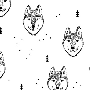Husky love cool snow puppy pattern for dog lovers winter geometric monochrome gender neutral Jumbo