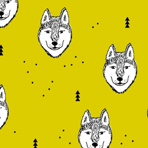 Husky love cool snow puppy pattern for dog lovers summer geometric gender neutral yellow Jumbo