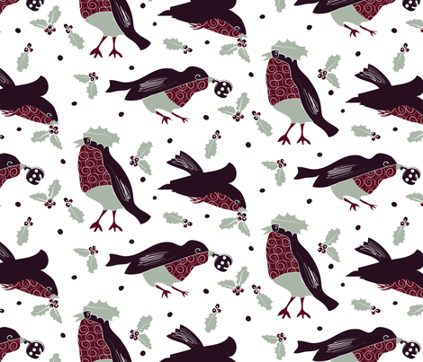 Holiday Birds fabric by colour_angel_by_kv on Spoonflower - custom fabric