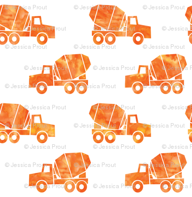 mixer trucks - watercolor orange