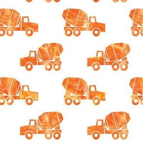 mixer trucks - watercolor orange