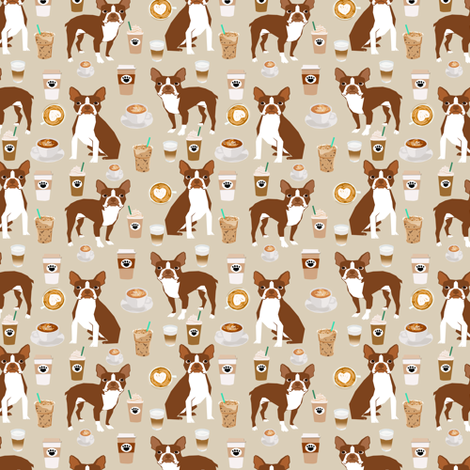 Boston Terrier Coffee (smaller scale) red coat sand fabric by petfriendly on Spoonflower - custom fabric