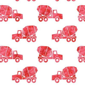 mixer trucks - watercolor red
