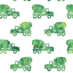 mixer trucks - watercolor green